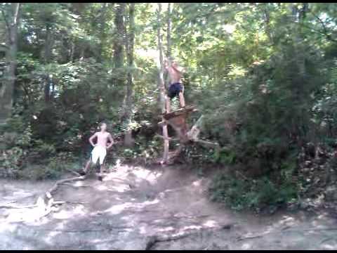 Hidden lake rope swing