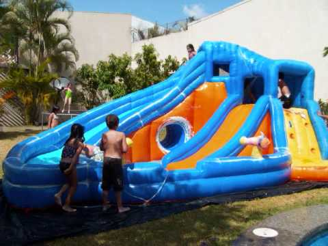 inflable acuatico en costa rica tobogan con agua youtube