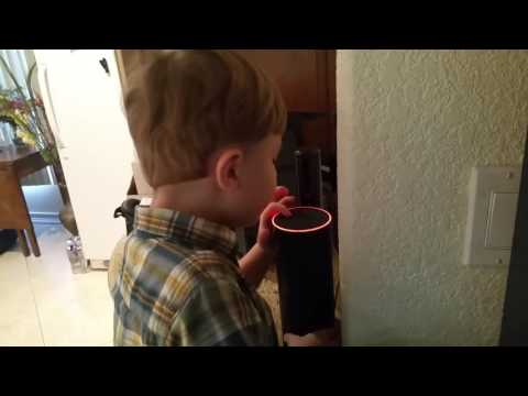 My grandson trying to talk to Alexa, my Amazon Echo device.