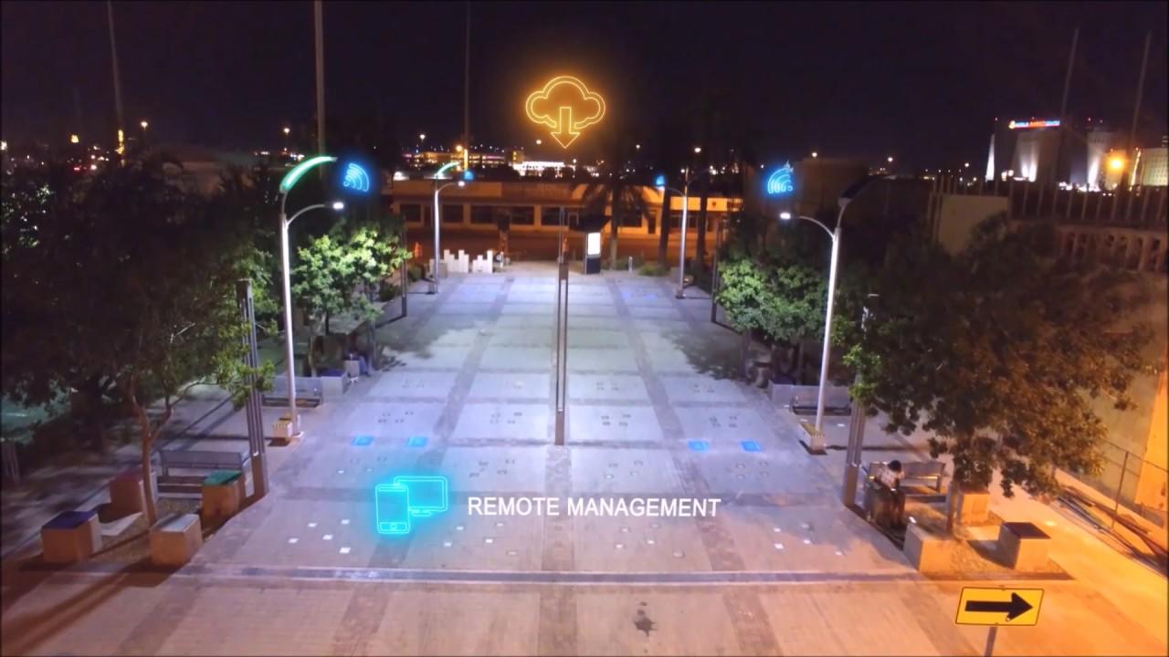 Smart Led Solar Street Lights For City Concept