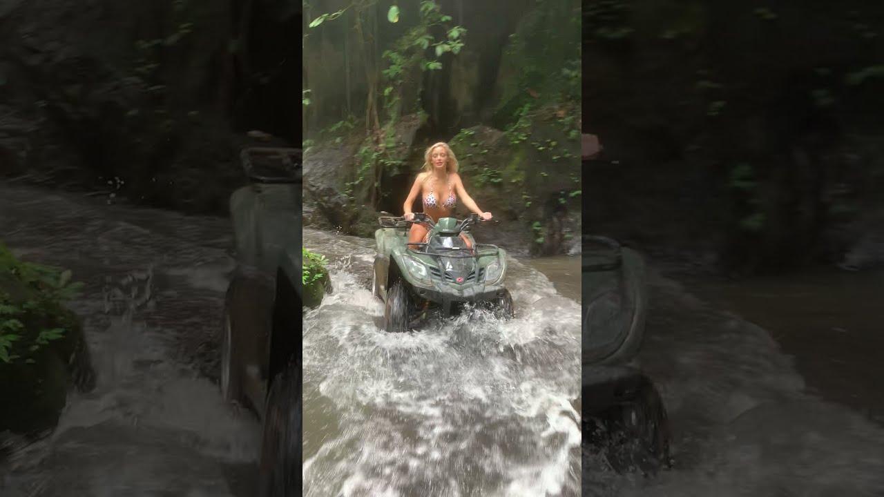 HANNAH PALMER rides an ATV through a waterfall in Bali Part 2 #shorts