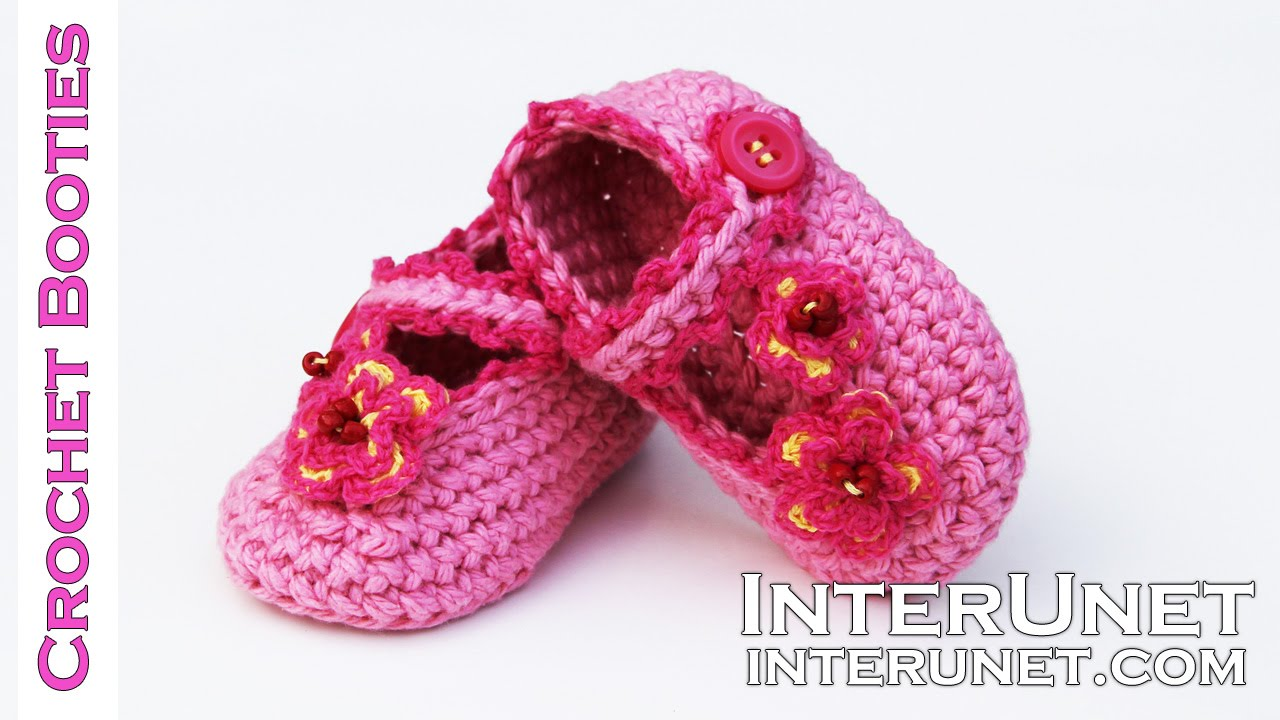 How To Crochet Booties For A Baby Girl Pink Shoes With Buttons And