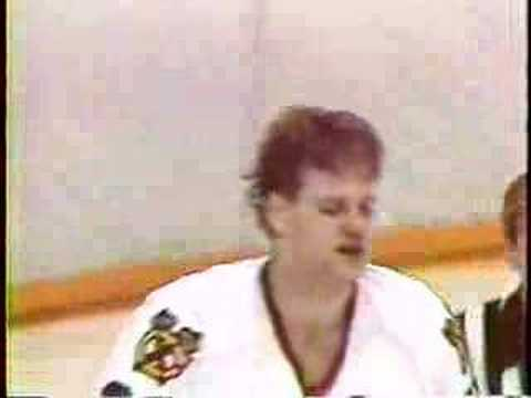"""Probert decks Nylund"" red wings Blackhawks brawl late 80"