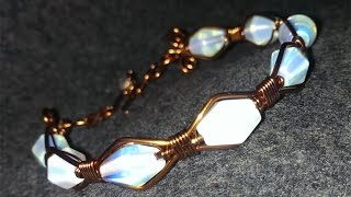 Copper wire bracelet with opalite - handmade beaded jewelry 117