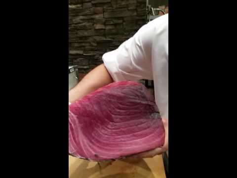 Cutting 50 pounds fatty Tuna