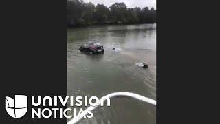 Rompieron los cristales y salvaron a una mujer antes de que su auto se hundiera en un río