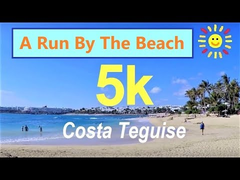 Virtual 5K Run By The Beach: Costa Teguise, Lanzarote (GoPro 1st Person View)