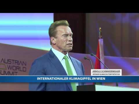 Schwarzenegger spricht am internationalen Klimagipfel in Wien