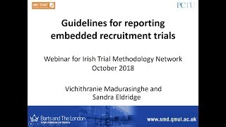 On wednesday the 4th october, hrb-tmrn hosted a webinar by vichithranie madurasinghe and prof. sandra eldridge of pragmatic clinical trials unit (pct...