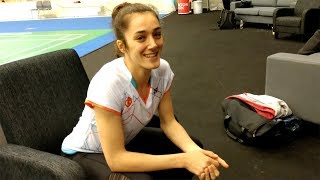 Badminton professional Neslihan Yigit testing the stringster app