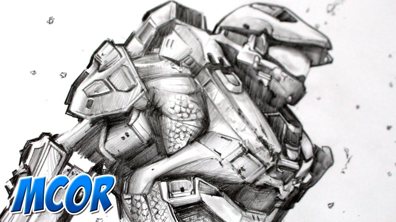 Dibujando A Halo 5 Master Chief Lapiz Youtube