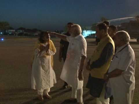 PM Narendra Modi leaves for Delhi from Bhavnagar airport in Gujarat