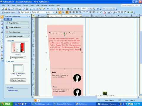 Create a brochure in Publisher 2007 - YouTube