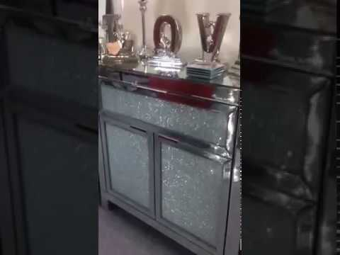 Mirrored sideboard with crackle glass front youtube for Sideboard glasfront