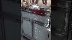Mirrored sideboard with crackle glass front