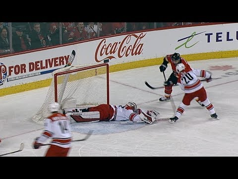 Petr Mrazek pushes across to rob Mark Giordano