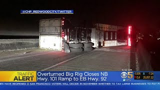 Big-Rig Overturns On 101/92 Interchange In San Mateo