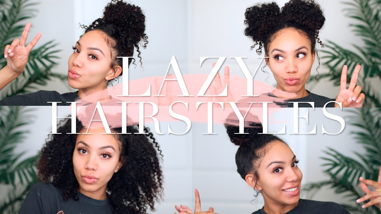 Lazy Hairstyles For Curly Hair Quick Easy On The Go Youtube
