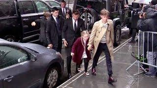 David Beckham, Victoria Beckham and their kids arrive at Balthazar restaurant in Soho