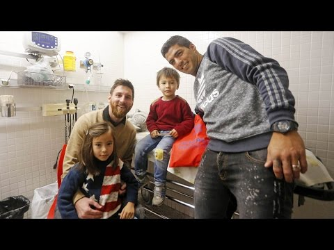 Barça spread happiness at hospitals in Barcelona
