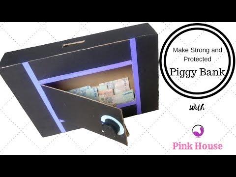 DIY   How To Make Piggy Bank Safe For Kids - Cardboard Crafts   Pink House