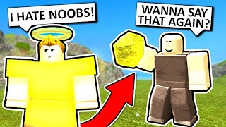 Noob w/ God Rock Trolling #2! (Roblox Booga Booga)