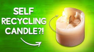 Spiral Candle Recycles Itself Into a Pillar Candle