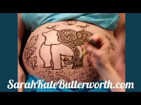 An Elephant Birds To Cele Te Pregnancy Body Art Time Lapse