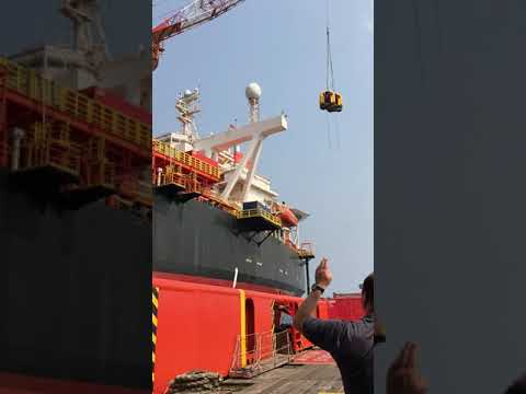 Crew change in offshore Angola