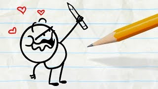 The Pencilmate takes his revenge on the pencil by drawing his very ...