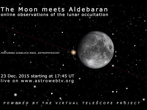The Moon meets Aldebaran: online observation of the occultation – 23 Dec. 2015