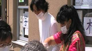 石巻 避難所の大須小学校での炊き出し