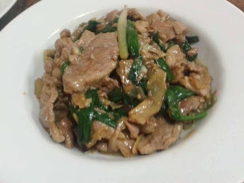 How to cook Stir fried ginger & onion spring with pork by  Kenex Kum