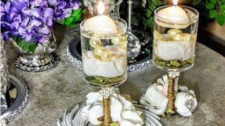How To| DIY Glam Dollar Tree Rose Gold Bling Centerpieces| DIY Home Decor🌸| DIY Wedding Ideas
