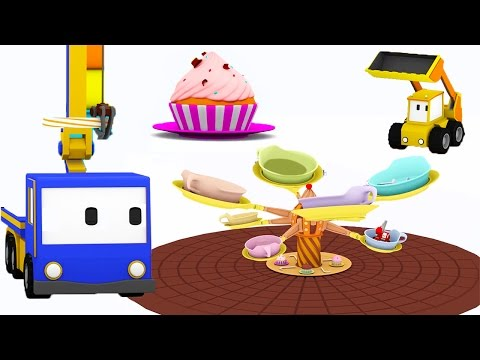 Pendulum Ride - Learn with Tiny Trucks at the Funfair with Tiny Trucks: bulldozer, crane, excavator