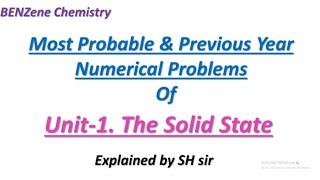 1 The Solid State # Important Numerical Problems # Passing & Scoring Package Of PU II Chemistry