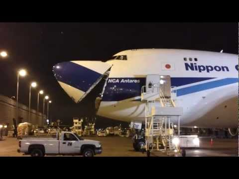 Nose-loading a Nippon Cargo Boeing 747-4KZF/SCD [JA06KZ] at O'Hare Int'l Airport [03.16.2013]