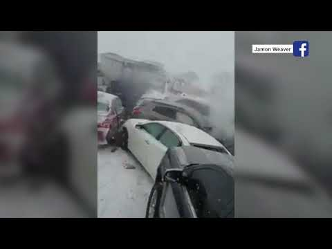 Huge Pile Up On I-70 During The Snow, Trucker Captured