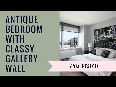 Antique Bedroom With Classy Gallery Wall