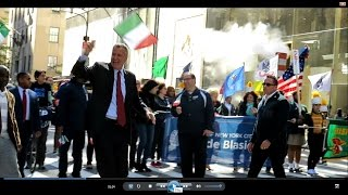 NYC Mayor Bill de Blasio Marches in Columbus Day Parade on 5th Avenue - October 10, 2016