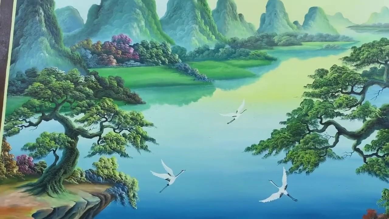 Vẽ tranh tường phong cảnh sơn thủy trong phòng khách tại Gia Lâm, Hà Nội – Wall painting T–Art Ha No