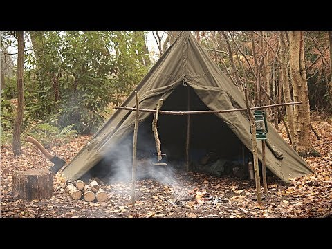 Overnight Solo Camp in a Canvas Tent - Bushcraft, Axe Work & Campfire