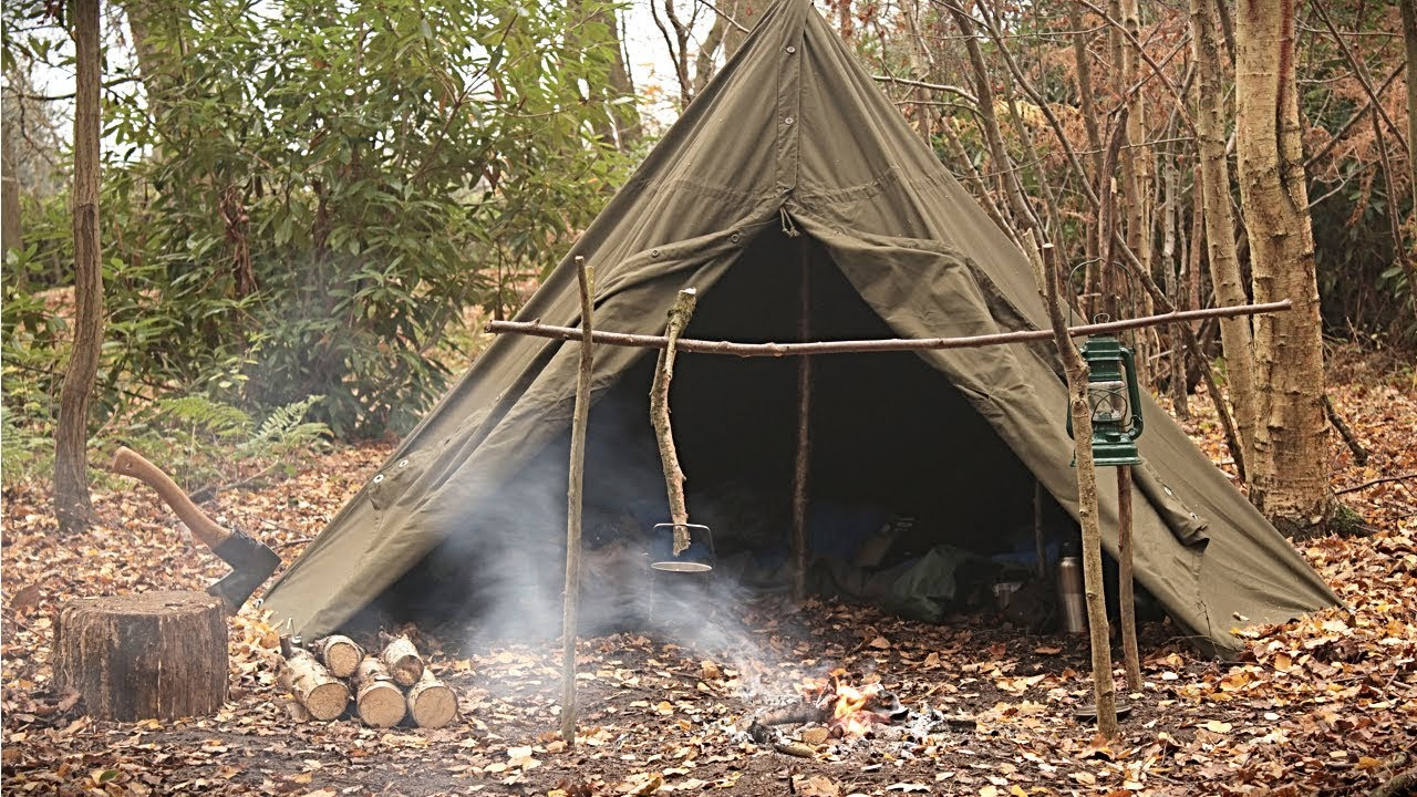 Overnight Solo C& in a Canvas Tent - Bushcraft Axe Work u0026 C&fire & Overnight Solo Camp in a Canvas Tent - Bushcraft Axe Work ...