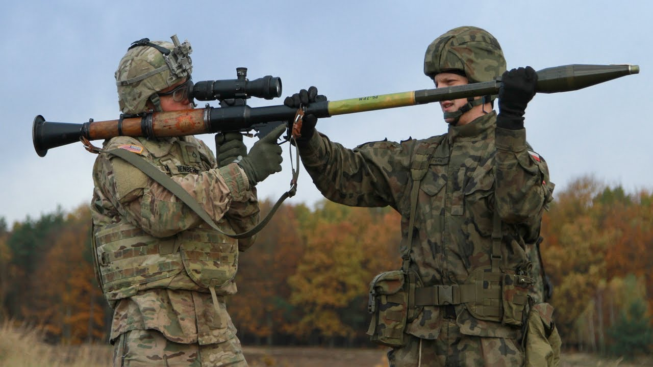 US Sky Soldiers and Poles Fire Anti Tank Weapons