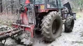 zetor 7340 turbo v lese přibližovani s koňmi pisek