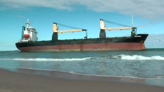 Cargo Ships run aground in Valencia, Spain