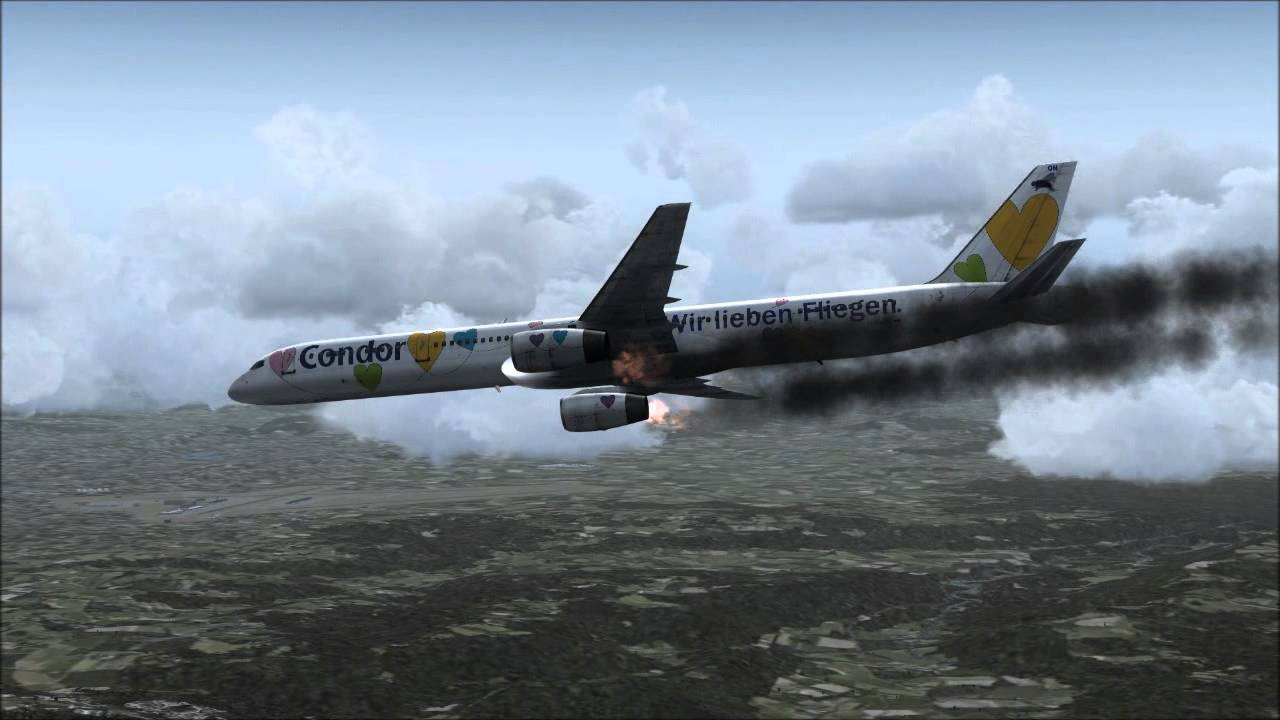 Boeing 757 300 Engine Fire Gear Fail Crash Youtube