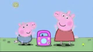 peppa pig listens and dances to rock n roll music
