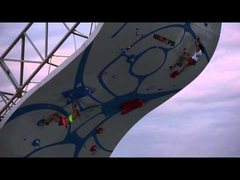 Emily Harrington and Ashima Shiraishi climb at the Psicocomp 2014