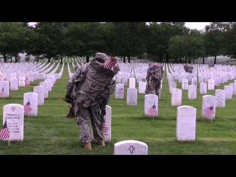 The Old Guard places over 228,000 flags at Arlington National Cemetery